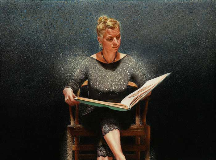 Reading woman - 50x50 - Tempera on panel - 2012